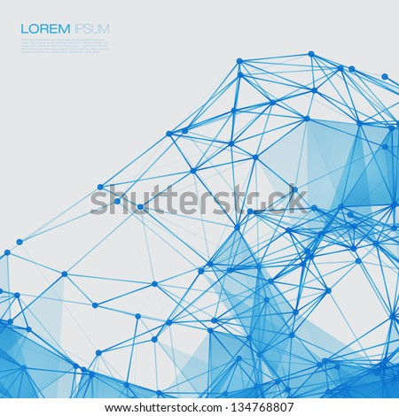 3D Blue Abstract Mesh Background with Circles, Lines and Shapes   EPS10 Design Layout for Your Business - stock vector