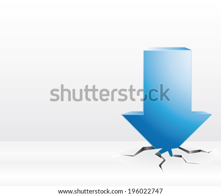 3d blue arrow breaking iced floor. Sales or crisis concept. Vector illustration. - stock vector