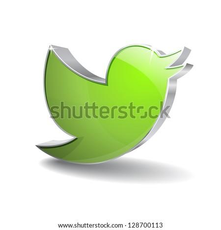 3d Blue Bird Icon - stock vector