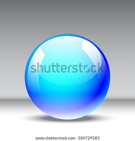 3d blue glossy sphere  - stock vector
