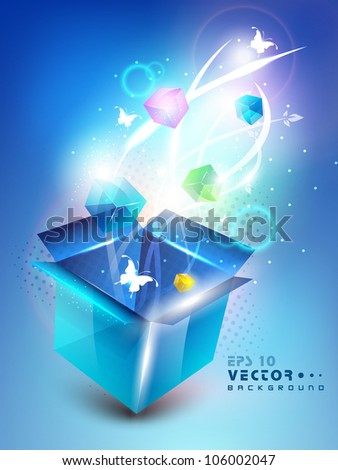 3D blue opened box with full of shine small gift box and butterflies, Abstract background. EPS 10. - stock vector