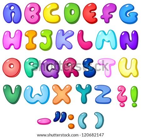 3d bubble shaped alphabet set - stock vector