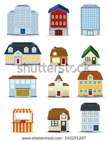 3d Building Icon Set - stock vector