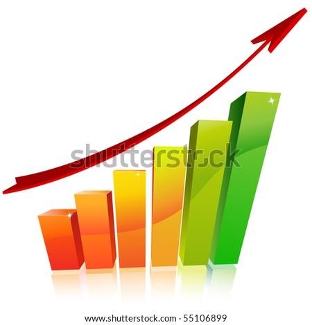 3d business graph - stock vector