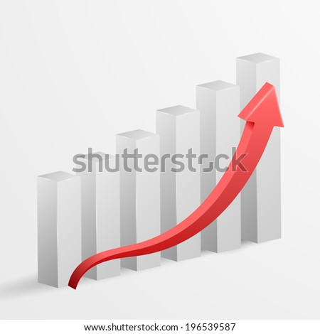 3d business growth bar graph. Vector illustration. - stock vector