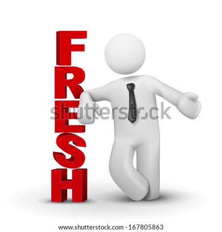3d business man presenting word fresh isolated white background - stock vector