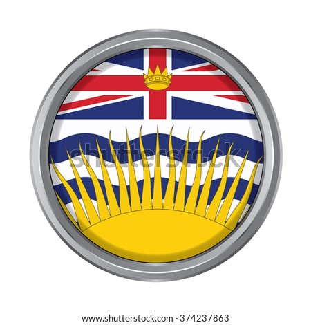 3D button Flag of British Columbia Province or territory of Canada. Vector illustration. - stock vector