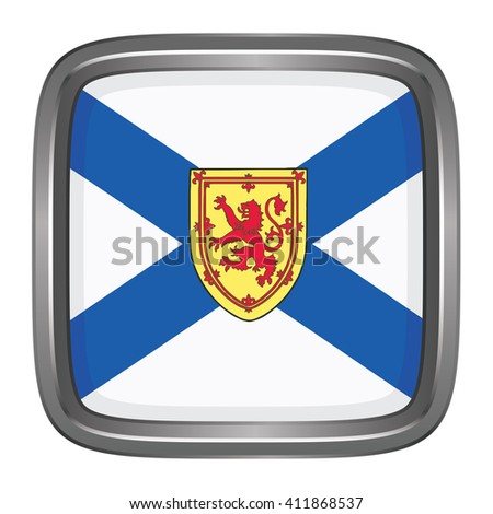 3D button Flag of Nova Scotia Province or territory of Canada. Vector illustration. - stock vector