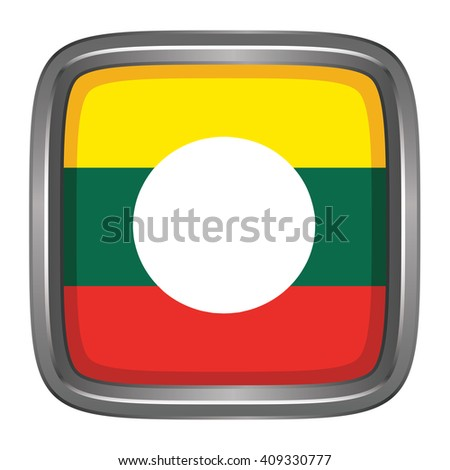 3D button Flag of Shan Districts / Regions / States of Myanmar. Vector illustration. - stock vector