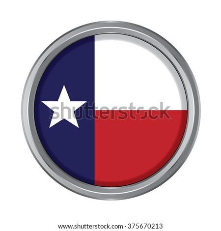 3D button Flag of Texas state of the United States. Vector illustration. - stock vector