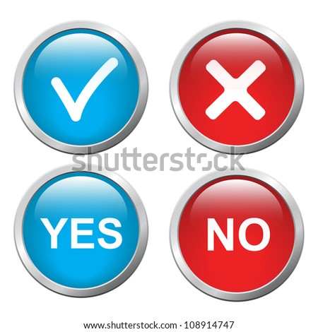 3D button Yes and No, vector image - stock vector