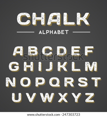 3D Chalk Alphabet - stock vector