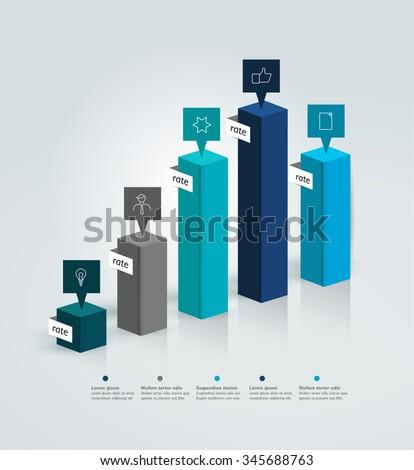3D chart, graph. Info graphics bar. - stock vector