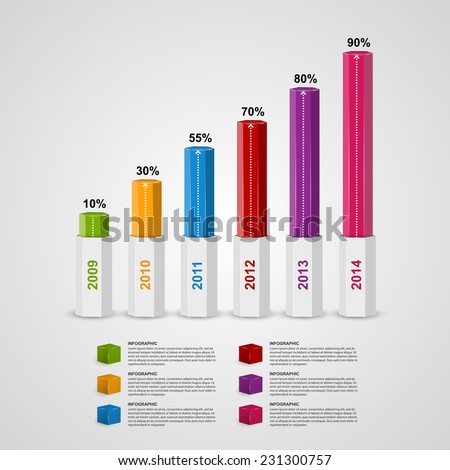 3D chart style infographic design template. - stock vector