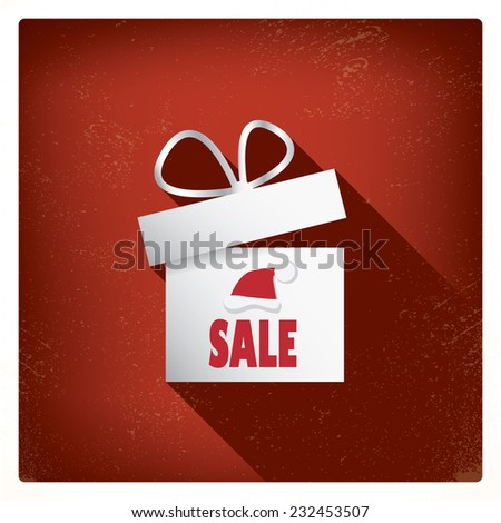 3d Christmas card with Christmas presents eps10 vector design for sales and discounts promotion. Long flat shadow - stock vector
