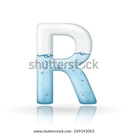 3d clean water letter R isolated on white background - stock vector