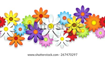 3D colorful daisy seamless border over white - stock vector
