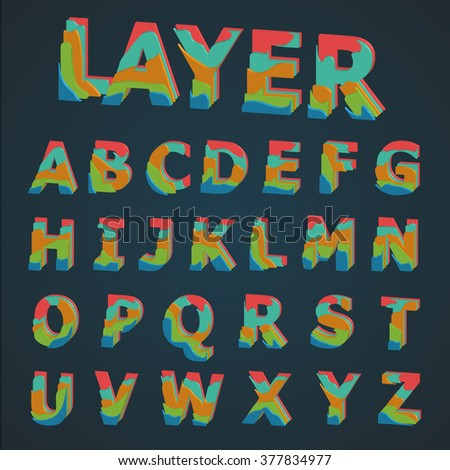3D Colorful layered typeset, vector - stock vector
