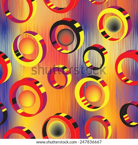 3d colorful rings and balls on grunge striped bright background in seamless composition - stock vector