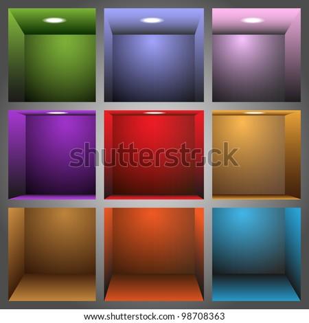 3d colorful shelves.Vector eps10 - stock vector