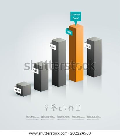 3D column chart. Vector infographic. - stock vector
