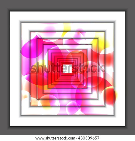 3d concentric squares in perspective in the form of a tunnel with colored light reflections. Abstract vector background. - stock vector