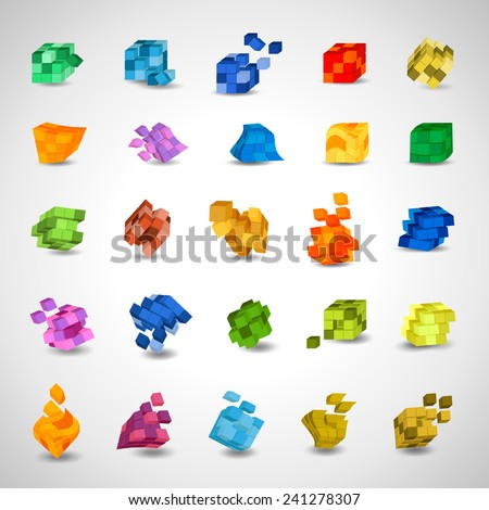3D Cube Icons Set - Isolated On Gray Background - Vector Illustration, Graphic Design Editable For Your Design     - stock vector