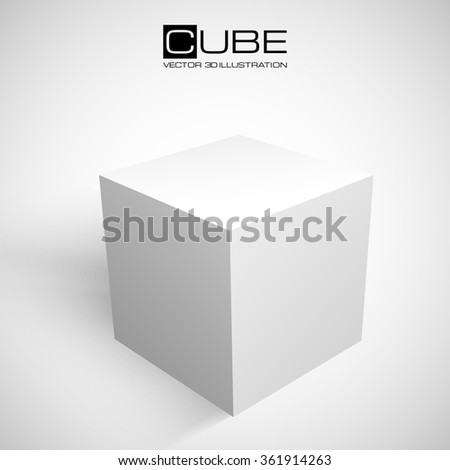 3D cube isolated on white background. Shipping or transportation concept. White box. Vector illustration for your design. - stock vector