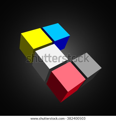 3D cubes. White cube. Red cube. Blue cube. Black cube. Yellow cube. Vector illustration. - stock vector