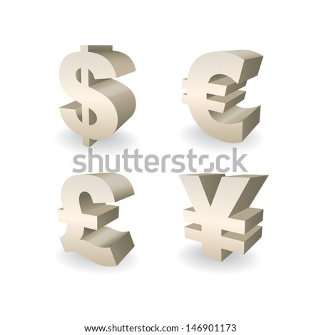 3D Currencies symbols, Dollar, Pound, Euro and Yen illustration - stock vector