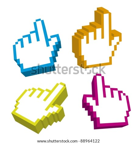 3d cursor hand isolated over white background. vector - stock vector