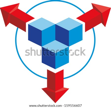 3D cursors pointing in different directions - stock vector