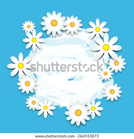 3D daisies over blue card with copy space - stock vector