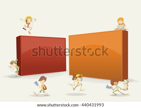 3d design of a text box frame background with with cartoon teenager students with laptops, tablets and smart phones  - stock vector
