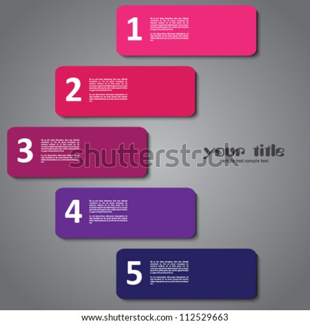 3d design with numbered banners - stock vector