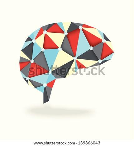 3D Diamond Effect Brain Activity - stock vector