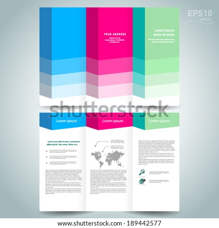 3d dimensional design brochure template folder leaflet colored element white background - stock vector