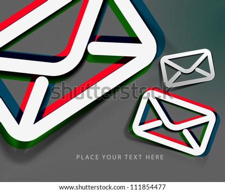 3d effect e-mail icon, vector design. - stock vector