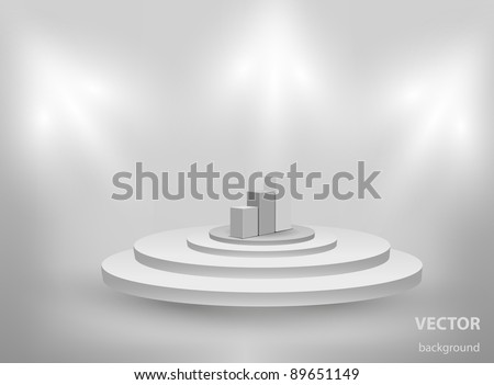 3d Empty interior with podium and graph - stock vector