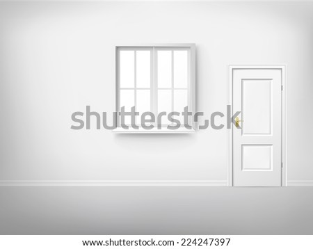 3d empty room with window and door  - stock vector