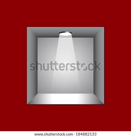 3d Empty shelf for exhibit in the red wall  - stock vector