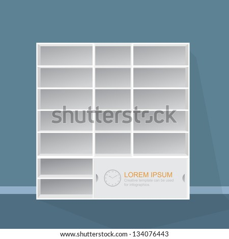 3D Empty white bookshelf, illustration by vector design. - stock vector