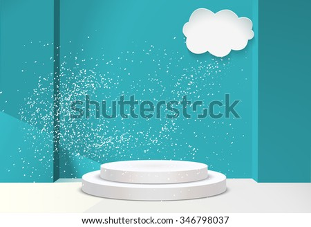 3d Empty white podium on blur winter background with snow . Vector illustration. Blue studio room for showcase products on winter background with beautiful snowflakes. - stock vector