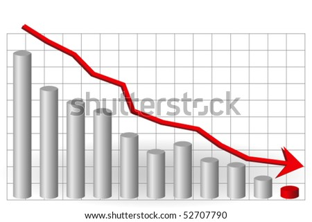 3D falling graph with red arrow - stock vector