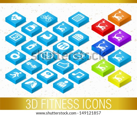 3D FITNESS ICONS / Set of vector icons.  - stock vector