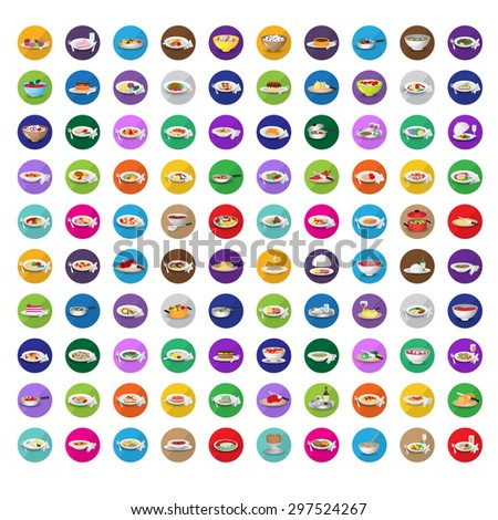 3D Flat Food Icons Set: Vector Illustration, Graphic Design. Collection Of Colorful Icons. For Web, Websites, Print, Presentation Templates, Mobile Applications And Promotional Materials - stock vector