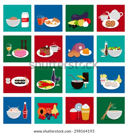 3D Flat Food Set: Vector Illustration, Graphic Design. Collection Of Colorful Icons. For Web, Websites, Print, Presentation Templates, Mobile Applications And Promotional Materials - stock vector