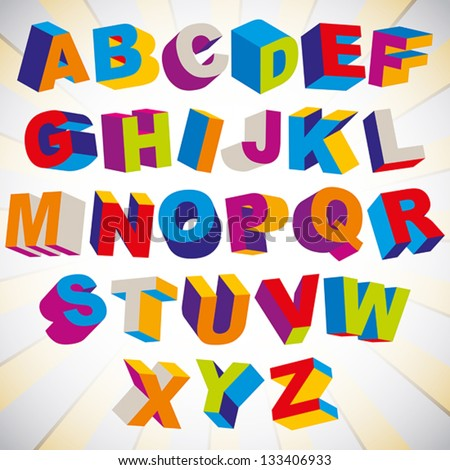 3D font, bold psychedelic colorful alphabet, vector. - stock vector