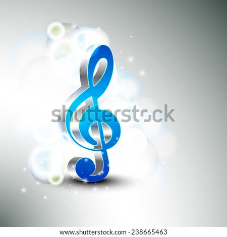 3D g-clef on shiny stylish background. - stock vector