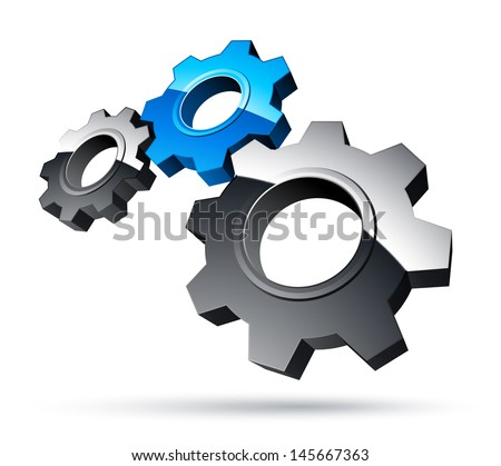 3D gears - stock vector